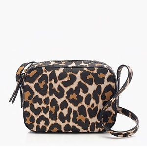 NWOT J. Crew Marlo Leather Crossbody Bag—Leopard